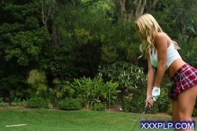 hot perky blonde naked golf