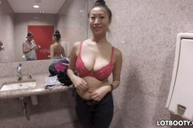 Busty asian with big booty fucked in public