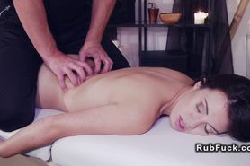 Vampire masseur licks and fucks babe on oiled massage t