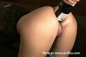 Extreme anal fisting and champagne bottle fuck