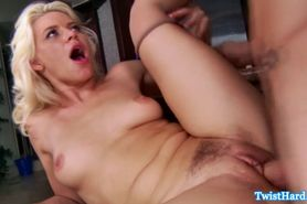 Young blonde pornstar babe fucked in kitchen