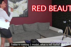 Blonde amateur masturbates with dildo on casting