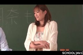 Gorgeous Japanese teacher flashing her sexy assets in c