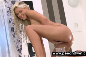 Passionate blonde darling loves to pee