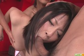 Megumi gives a cute asian blowjob and is creampied