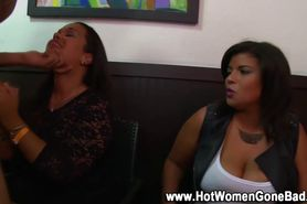Hungry cfnm amateurs suck and jerk