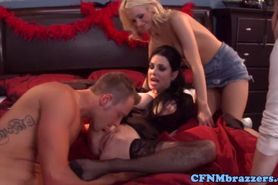 Cfnm-femdoms-share-cock-together-at-home