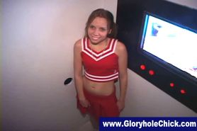 Gloryhole cheerleader gives bj