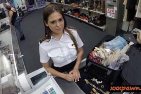 Cute stewardess needs money and visits a dirty pawn sho