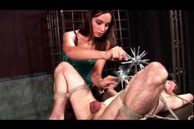 Roped male slave gets cock and nipples tortured