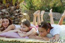 Three hot babes playing outside