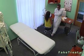 Fake doctor giving his seed to sexy brunette patient