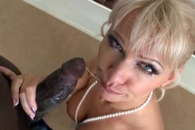Classy blonde takes giant black cock