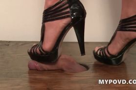 Brunette high heels foot job pov