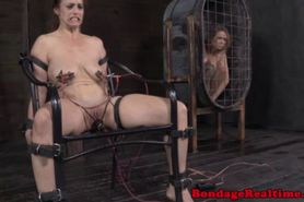 Tied up redhead sub in hardcore electrosex