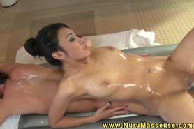 Raven babes enjoys massage for clients hard dick