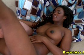 Perfect ebony booty babe gets a facial