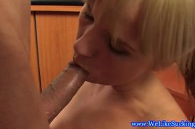 Blowjob loving euro blonde amateur gives head