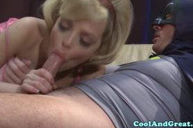 Blonde bombshell babe sucks off batman