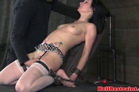 Gagged sub dildofucked by dom master