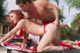 Massaging session with hot spicy ginger getting rimjob