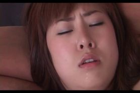 Super horny Japanese babe gives blow and tit job to hug