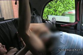 Amateur gets cunt creampie in fake taxi