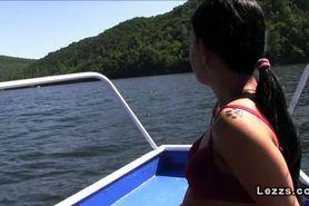 Czech lesbians fingering on the boat at lake