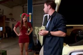 Petite sexy babe pounced hard in garage