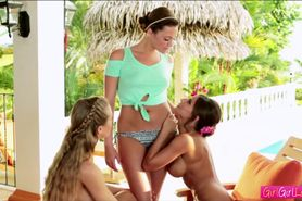 Hot lesbians nicole and her friends in threesome