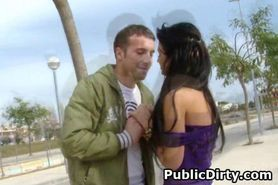 Brunette Girl Getting Drilled From Behind In Public