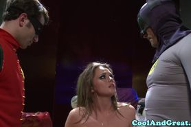 Facialized babe in superhero threeway