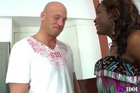 Ebony tranny gets blowjob