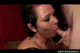 Amsterdam slut slurping cum out of a tourists hard peck