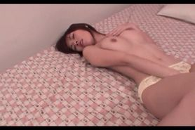 Teen jap seductress pleasured in her hairy muff with fi