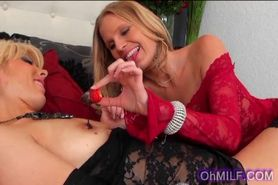 Super hot blonde milfs play with chocolate