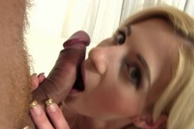 Blonde cocksucking hottie fingered in ass