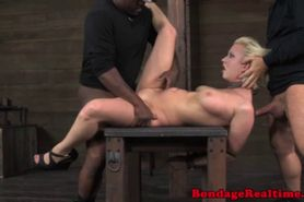 Worthless blonde throatfucked gets to swallom cum