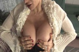 Mature pov tugging with old bird in a gstring