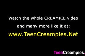 Asian teen tastes her creampie