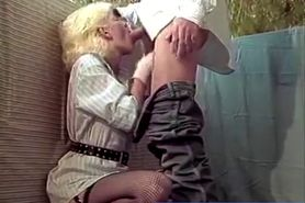 Blonde Letting Him Cum in Retro scene