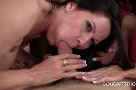 Nasty foursome with horny cougars pussy licked from beh