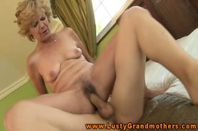 Old hairy gilf sucks and fucks hard cock