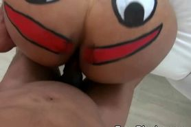 Black Ex Girlfriend With Face Paint On Her Ass Taking C