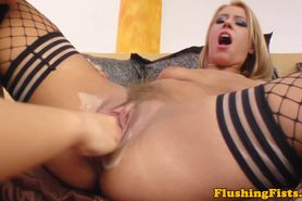 Fisting loving duo in stockings show all
