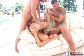 AllInternal Creampie filled anal threesome for Ria Sunn