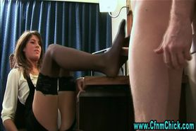 Clothed femdoms handjob cumshot