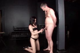 Male sex slave gets nipples and cock tortured