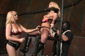 Blonde Slut In Leather Getting Owned On A Concrete Floo