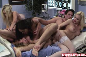 Hot nurse Riley Steel orgy cum swap